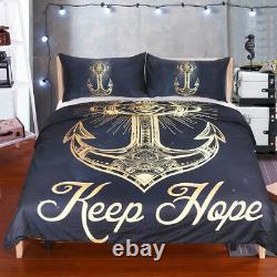 3 Pcs Golden Anchor Duvet Cover Set With Pillowcase Retro Bedding Set King Size