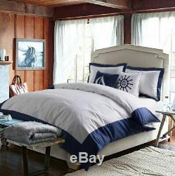 4pc. 6pc Egyptian Cotton Embroidered Nautical Anchor Queen King Duvet Cover Set