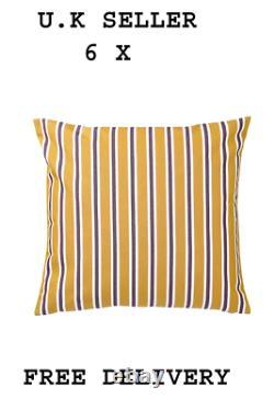 6 X FUNKÖN Cushion cover, in/outdoor, dark yellowithpurple50x50 cm