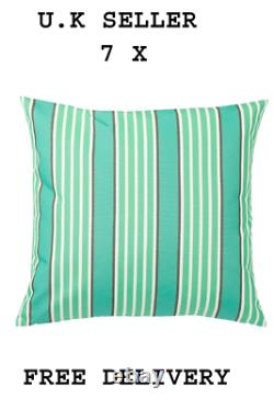 7 X FUNKÖN Cushion cover, in/outdoor, turquoise/green50x50 cm