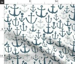 Anchor Blue Baby Nursery Anchors Nautical Sateen Duvet Cover by Roostery