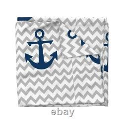 Anchor Chevron Grey Chevron Navy Blue Nursery Sateen Duvet Cover by Roostery
