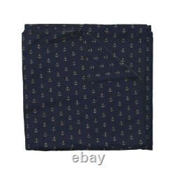 Anchor Gold Navy Nautical Sea Marine Water Sateen Duvet Cover by Spoonflower
