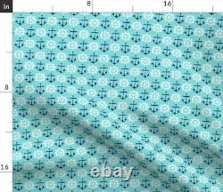 Anchor Nautical Aqua Turquoise Coastal Boating Sateen Duvet Cover by Roostery