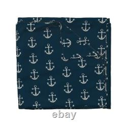 Anchor Nautical Kids Anchors Silver Navy Preppy Sateen Duvet Cover by Roostery