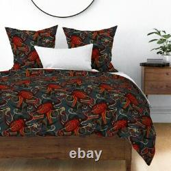 Anchor Nautical Octopus Red Black Ocean Steampunk Sateen Duvet Cover by Roostery