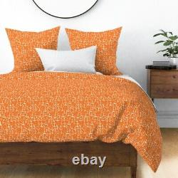 Anchor Nautical Orange Anchors Anchor Sateen Duvet Cover by Roostery