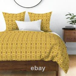 Anchor Nautical Ropes Ship Wheel Ocean Mustard Sateen Duvet Cover by Roostery