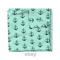 Anchor Navy Baby Boy Mint Nautical Preppy Anchors Sateen Duvet Cover by Roostery