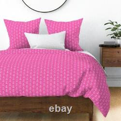 Anchor Pink Hot Pink Nautical Pink Anchor Little Sateen Duvet Cover by Roostery