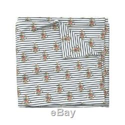 Anchor Stripes Floral Pink Blue Summer Nautical Sateen Duvet Cover by Roostery