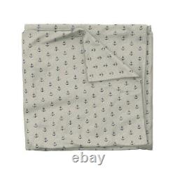 Anchors Anchor Nautical Grey Sateen Duvet Cover by Roostery