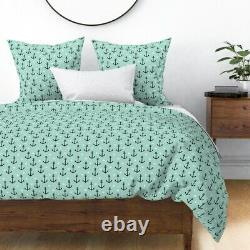 Anchors Mint Anchor Baby Modern Nursery Decor Sateen Duvet Cover by Roostery