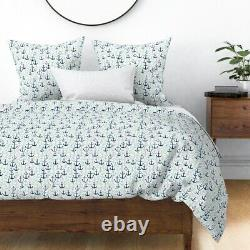 Anchors // Mint Navy And Grey Anchor Summer Sateen Duvet Cover by Roostery