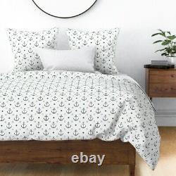 Anchors Modern Nautical Nursery Decor Star Of The Sateen Duvet Cover by Roostery