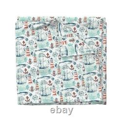 Aqua Blue Lighthouse Compass Sea Anchor Sateen Duvet Cover by Roostery