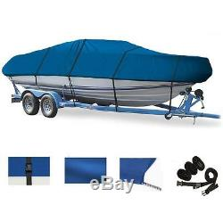 BLUE BOAT COVER FOR CHAPARRAL 225 SSI WIDE TECH WithO ANCHOR ROLLER 2012-2017