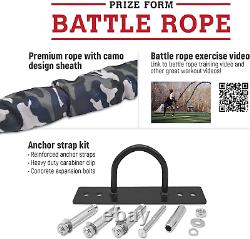 Battle Exercise Training Rope with Camo Protective Cover & Anchor Strap Kit for