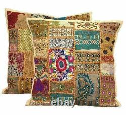 Beige Patchwork Cushion Cover Handmade Boho Indian Pillow Case Home Decor New