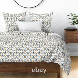 Blue Nautical Anchors Summer Beach Decor Rope Sea Sateen Duvet Cover by Roostery