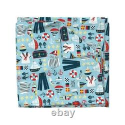 Blue Nautical Sailor Sailing Boats Palette Sateen Duvet Cover by Roostery