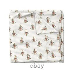Boho Floral Anchor Pink Striped Baby Girl Summer Sateen Duvet Cover by Roostery