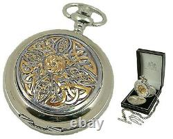 CELTIC ROSE MECHANICAL SILVER HUNTER POCKET WATCH Mens Pewter Cover Gift A. E. W
