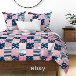 Cheater Wholecloth Navy And Pink Anchor Nautical Sateen Duvet Cover by Roostery