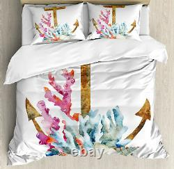 Colorful Duvet Cover Set with Pillow Shams Anchor Corals Seaweed Print