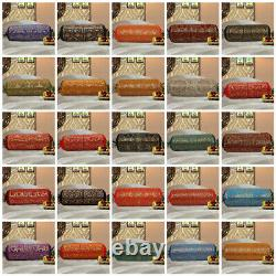 Indian Long Round Pillow Yoga Bolster Massage Beige Cylinder Silk Cushion Cover