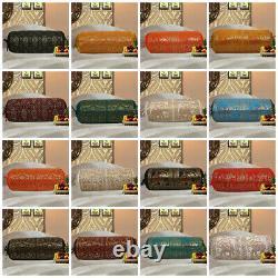 Indian Silk Cushion Cover Back Yoga Sofa Neck Brocade Silk Bolster Pillowcase