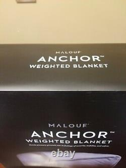 MALOUF Anchor Weighted Blanket Queen Ash with cotton velour cover 60x80 20lb