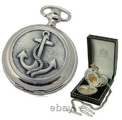 MARINERS DOUBLE HUNTER MECHANICAL POCKET WATCH Mens Ships Anchor Cover ENGRAVED