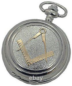 MASONS MECHANICAL SILVER POCKET WATCH Masonic Pewter Cover New AEW UK ENGRAVABLE