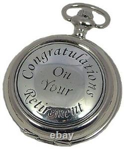 MENS RETIREMENT MECHANICAL SILVER POCKET WATCH Pewter Cover AEW UK ENGRAVABLE