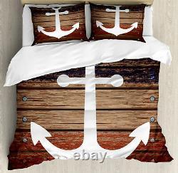 Marine Duvet Cover Set with Pillow Shams Boat Theme Anchor Motif Print