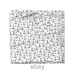 Modern Nautical Nursery Anchor Black And White Sateen Duvet Cover by Roostery