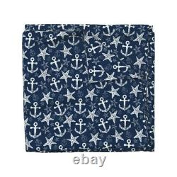 Nautical Anchor Starfish Navy Ocean Nautical Sateen Duvet Cover by Roostery