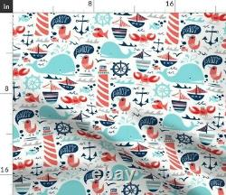 Nautical Boats Anchor Whales Sea Whale Fish Sateen Duvet Cover by Roostery