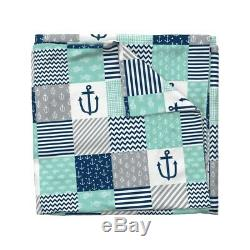 Nautical Chevron Anchor Fish Cheater Nursery Baby Sateen Duvet Cover by Roostery