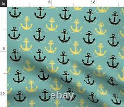 Nautical Coastal Anchor Fishing Fish Boating Sateen Duvet Cover by Roostery