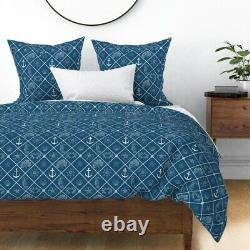 Nautical Crab Anchor Sea Star Starfish Sea Horse Sateen Duvet Cover by Roostery