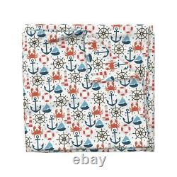 Nautical Nursery Beachy Boy Anchor Ship Wheel Sateen Duvet Cover by Roostery
