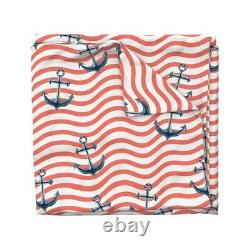 Nautical Stripe Anchors Wavy Lines Red And White Sateen Duvet Cover by Roostery
