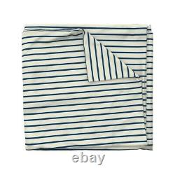 Nautical Stripes Summer Navy Beach Decor Maritime Sateen Duvet Cover by Roostery