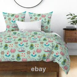 Nautical Tattoo Mint Sailor Ship Octopus Anchor Sateen Duvet Cover by Roostery