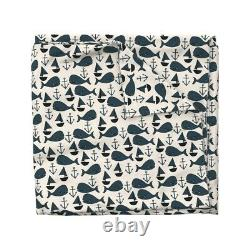Nautical Whales Whale Anchor Sailboat Nursery Sateen Duvet Cover by Roostery