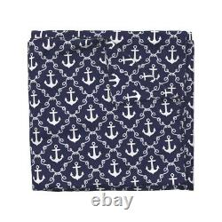 Navy Blue Nautical Anchors Beach House Indigo Sateen Duvet Cover by Roostery