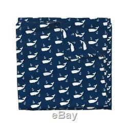 Navy Nautical Whale Nursery Decor Anchor Ocean Sateen Duvet Cover by Roostery