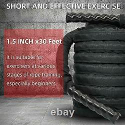 Nylon Covered Heavy Battle Rope 30ft with Anchor kit, 1.5 Inches Diameter